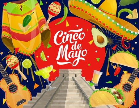 "Cinco de Mayo墨西哥假日庆祝符号,食品和饮料。传染媒介Cinco de Mayo""派对吉他,Maracas和Sombrero"",带Poncho,Aztec或Maya金字塔和龙虾的龙舌兰酒"
