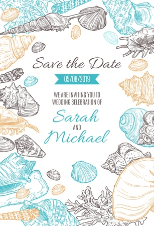 Save the Date marine sketch wedding invitation. Vector bride and groom marriage or engagement beach party date invitation with tropical seashells, corals and jellyfish sketch pattern Иллюстрация