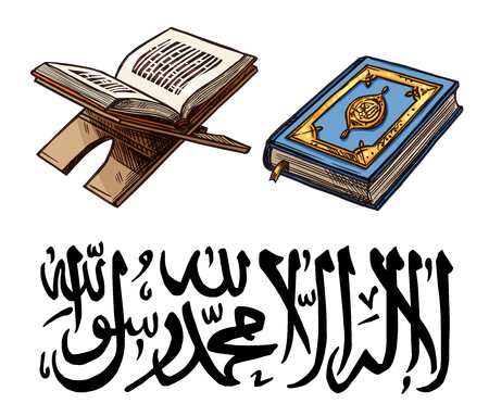 Islam religion Holy Quran sketch for Ramadan Kareem celebration. Muslim book with bookmark on stan for Eid Mubarak and arabic calligraphy font. Religious text from islamic world vector isolated Ilustração