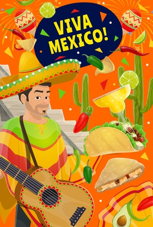 Viva Mexico and Cinco de Mayo Mexican holiday celebration fiesta. Vector Cinco de Mayo party man i sombrero and poncho with guitar, margarita and tequila, trational maracas, cactus and quesadilla Illustration