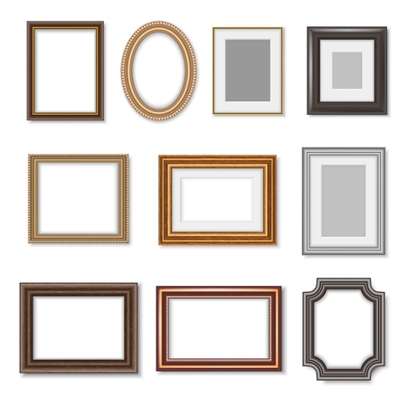 Photo frames and ornate picture borders isolated realistic set. Vector blank rectangular vintage wooden photo frame with ornate edges and luxury oval golden mirror borders Foto de archivo - 118668617
