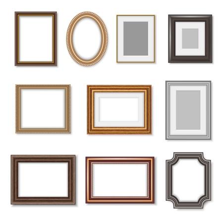 Ramki do zdjęć i ozdobne obramowania obrazu na białym tle realistyczny zestaw. Wektor pusta prostokątna drewniana ramka na zdjęcia z ozdobnymi krawędziami i luksusowymi owalnymi złotymi obramowaniami lustra