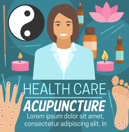 Acupuncture alternative medicine or Chinese traditional medical needle therapy. Vector acupuncture doctor with medical aromatherapy essential oils, candles or Yin Yang sign and lotus