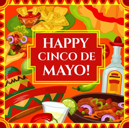 Happy Cinco de Mayo, Mexican holiday and Mexico fiesta celebration. Vector Cinco de Mayo party food fajita and nachos with pepper and tomato salsa, tequila and lime, Mexican dress and sombrero Illustration