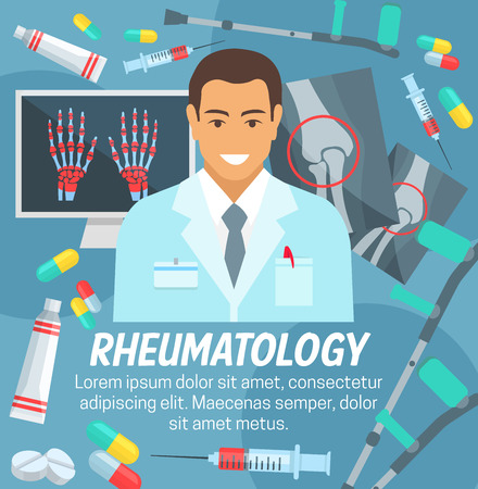Rheumatology medicine clinic and rheumatologist doctor. Vector joint bones X-ray diagnostics, legs and arms osteochondrosis or spine osteoporosis and orthopedic diseases treatments and medical pills