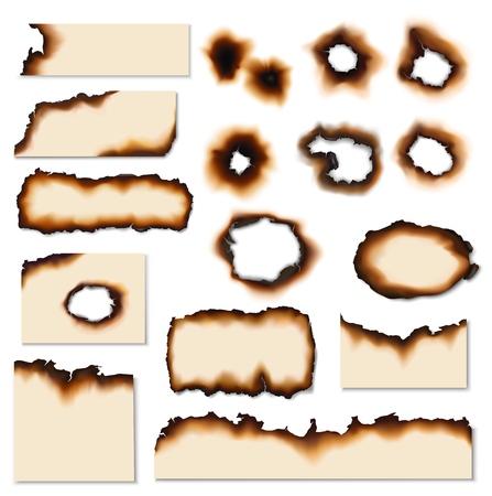 Papel quemado agujeros vector conjunto realista. Páginas de papel y restos de hojas con bordes, lados y agujeros quemados o quemados por el fuego