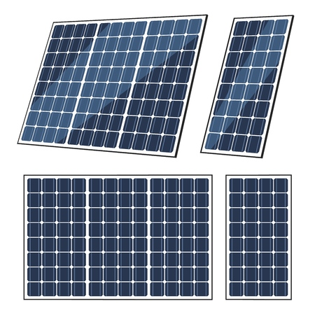 Solar panels vector design of sun energy modules, eco power batteries with photovoltaic solar cells. Green power, alternative renewable energy sources, electricity technology themes