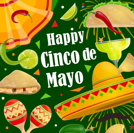 Cinco de Mayo Mexican holiday celebration fiesta poster of sombrero, mustaches and jalapeno chili pepper. Vector Happy Cinco de Mayo party margarita cocktail, maracas with tacos and fireworks Illustration