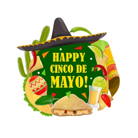 Happy Cinco de Mayo Mexican traditional holiday celebration greeting. Vector Cinco de Mayo party fiesta maracas, tequila with lime and quesadilla, cactus and sombrero with poncho and jalapeno pepper