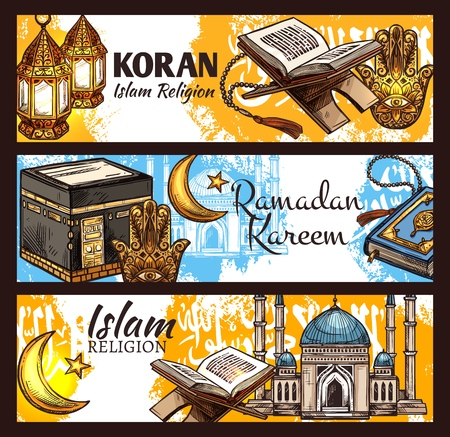 Islam religion Ramadan Kareem, muslim sacred Koran book and muslem mosque sketches.Crescent moon, arabian lantern and Kaaba masjid of Mecca, rosary beads and hamsa amulet. Vector design Illustration