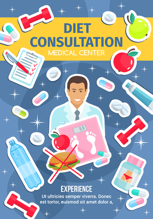 Dietetics medical center, healthy diet nutrition and dietitian doctor. Vector diet consultation and health diagnostic clinic, weight loss pills, natural vegetables food and physical exercises