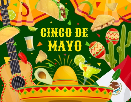 Cinco de Mayo Mexican holiday celebration and traditional Mexico party fiesta. Vector Cinco de Mayo symbols of sombrero, guitar and maracas, Mexican quesadilla and taco, margarita tequila and cactus Illustration