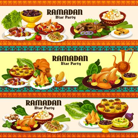 Ramadan-eten en iftar-feestgerechten met traditionele Arabische koffie, kiprijst, biryani en dadels, samosa, kebab en baklava. Gegrilde vis, kikkererwtenhummus en gevulde courgette, vectorthema