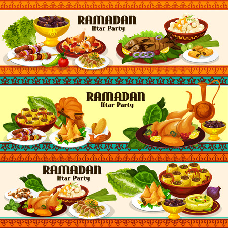 Ramadan food and iftar party dishes with traditional arab coffee, chicken rice biryani and dates, samosa, kebab and baklava. Grilled fish, chickpea hummus and stuffed zucchini, vector theme