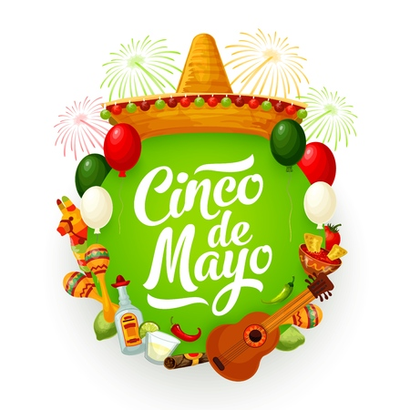 Cinco de Mayo holiday vector greeting card with Mexican fiesta party sombrero, guitar and food. Maracas, pinata and chilli tacos, tequila, margarita and lime, cigar, festive fireworks and balloons Illustration