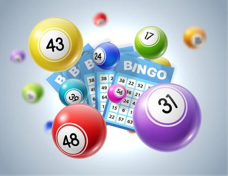 Bolas de lotería y boletos Ilustración vectorial 3d de juegos deportivos de juego de lotería, bingo o keno. Bolas de colores y boletas de apuestas con números, industria del juego y diseño publicitario de casinos.