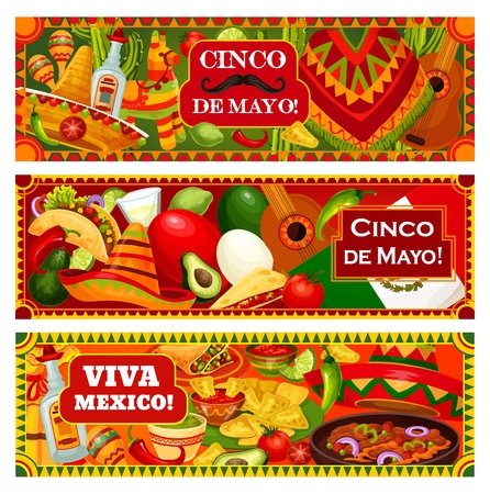 Cinco de Mayo and Viva Mexico banners, Mexican holiday celebration greetings. Vector traditional Cinco de Mayo fiesta food jalapeno pepper, avocado and nachos, Mexican poncho and pinata Illustration