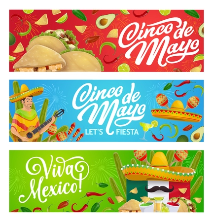 Cinco de Mayo fiesta party vector greeting banners with Mexican holiday mariachi sombreros, food and drink. Guitar, maracas and moustaches, cactus, Mexico flag and tequila margarita, chilli and tacos