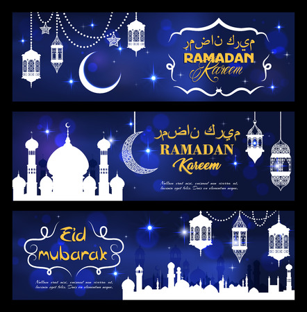 Ramadan Kareem and Eid Mubarak banners for Muslim religious holiday greeting card. Vector white mosque silhouette with minarets, lanterns or crescent moon and twinkling stars with Arabian writings