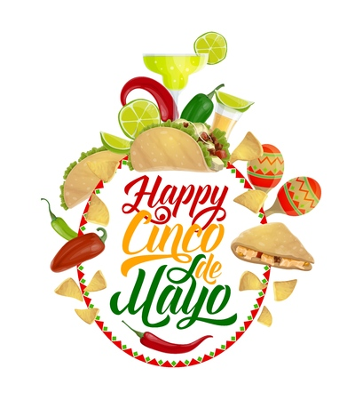 Happy Cinco de Mayo vector design of Mexican holiday food, fiesta party drink and greeting wishes. Cactus, tequila margarita and maracas, chilli, lime and jalapeno pepper, tacos and corn nachos