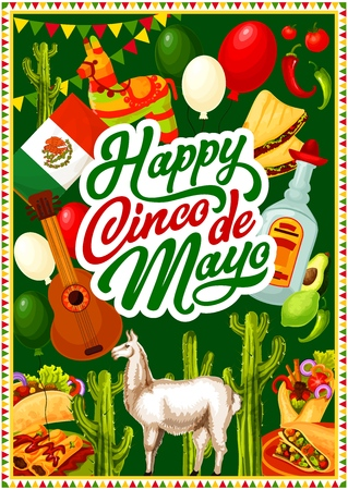 Mexican Cinco de Mayo happy greetings with Mexico 5th May traditional holiday decoration symbols and food. Vector Mexican flag balloons, burrito and tacos, Cinco de Mayo pinata with guitar and pepper