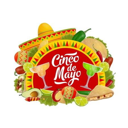 Cinco de Mayo holiday sombrero, maracas, food and drink vector design. Mexican fiesta party tequila margarita, chili and lime, tacos, nachos and avocado. Puebla Battle anniversary greeting card design