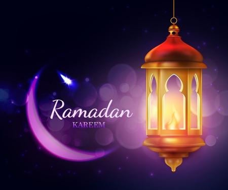 Lanterne de Ramadan Kareem, fête de la religion islamique Eid carte de voeux vectorielle 3d. Croissant de lune avec lampe dorée arabe, décoré d'étoiles et d'étincelles. Conception du mois de jeûne musulman Ramazan