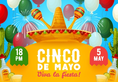 Cinco de Mayo fiesta party vector invitation with Mexican holiday drinks and decor. Mariachi sombrero and maracas with tequila, margarita and lime, decorated with cactus, fireworks and balloons Illustration