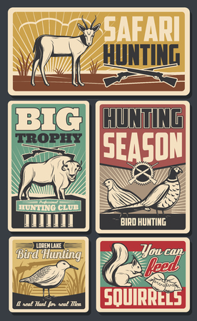 Hunting season, feathered birds and horned animals. Vector safari hunt, trophies deers and bison, pheasant. Squirrel with acorns and woodcock. Savanna inhabitants, rifles silhouettes and ammunition Illustration