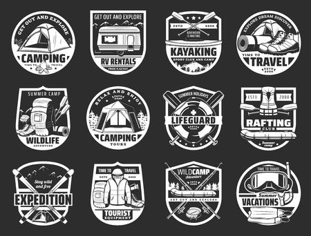 Travel and sport icons. Vector camping and kayaking, lifeguard and rafting, expedition and tourist equipment, vacation. Tent and van, boat and backpack, oar and lifeguard, rafting Stock Illustratie
