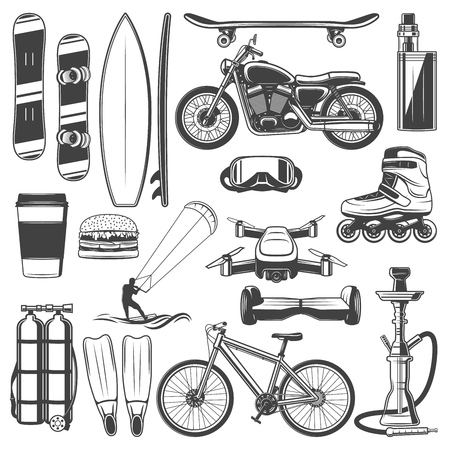 Hobby activities and sport recreation icons. Vector snowboard and surfboard, skateboard and vape. Motorcycle and game, roller and videography, hoverboard and scuba diving, bicycle and hookah Foto de archivo - 119029646