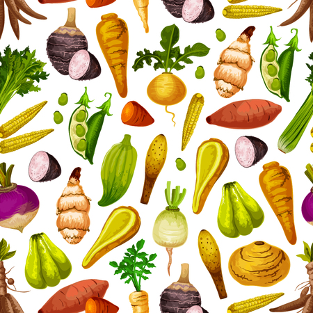 Exotic vegetable seamless pattern. Vector peas and baby corn, celery and sweet potato, turnip and radish, parsnip and taro. Arrakacha and swede, cassava and artichoke, chayote and caiga