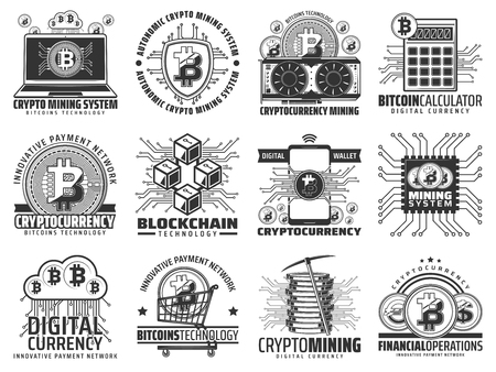 Cryptocurrency and digital mining, blockchain technology icons. Vector computer and hardware, calculator and bitcoin, smartphone and shopping cart, picker and video card. Online business transactions