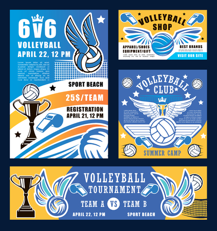 Volleyball sport, ball and whistle. Vector sport competition at school, trophy cup and net, ball with wings. Sporting items and crown, team match, prize or award Çizim