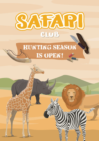 Safari hunting sport, desert and wild animals. Vector African savannah and giraffe, lion and zebra, rhinoceros and hunt equipment. Horn and bullets, knife with case, chasing and shooting prey