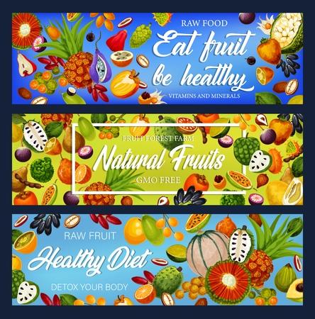 Nutrición de desintoxicación de frutas tropicales, alimentos libres de transgénicos. Vector guanábana y marindo, caimito y marang, litchi y durian, kiwano y pandan. Kumquat y pepino, tamarindo y mamey, caqui y caqui Ilustración de vector