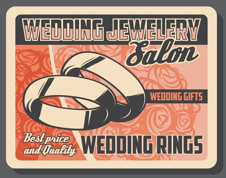 Wedding rings bridal accessory on marriage ceremony. Vector jewelry salon, gold, silver or platinum jewels, ceremonial gifts. Bouquet of roses, engagement holiday event, presents and accessories shop 矢量图像