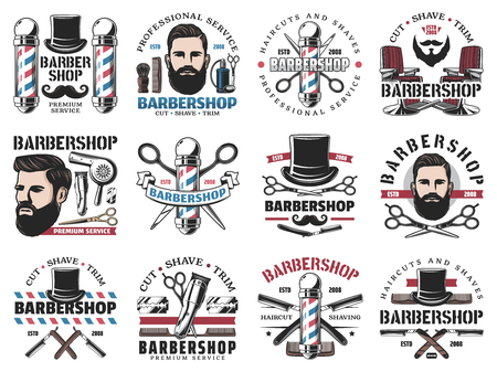 Beard shaving and styling, barbershop isolated icons. Vector haircut and hairstyle, professional barber or hairdresser. Scissors and trimmer, brush and male perfume, tall hat and armchair, razor blade