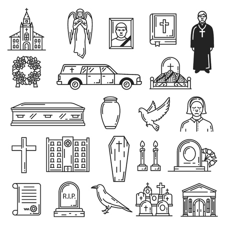 Funeral vector icons, burial interment religious ceremony. Vector church temple and angel, Bible book, priest and ritual wreath, hearse and grave, coffin and urn, dove and cross, candle and gravestone