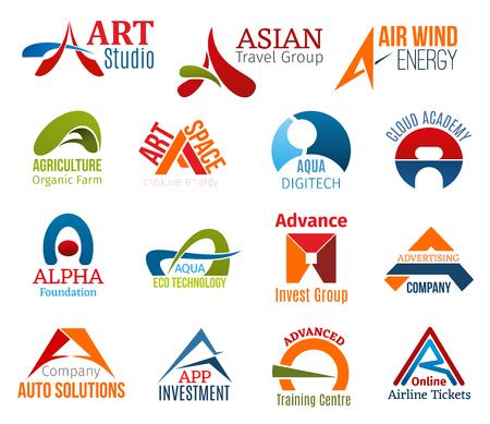 Corporate identity letter A business icons. Vector art and travel, energy and agriculture, education, foundation and technology. Investment, advertising and transport, training and transportation