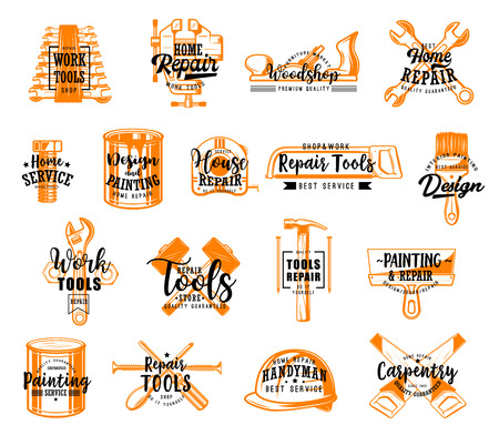 Construction and building tool icons with lettering, isolated equipment. Vector wrench and file, bolt and paint can, ruler and saw. Brush and hammer, putty knife, screwdriver and nail, helmet