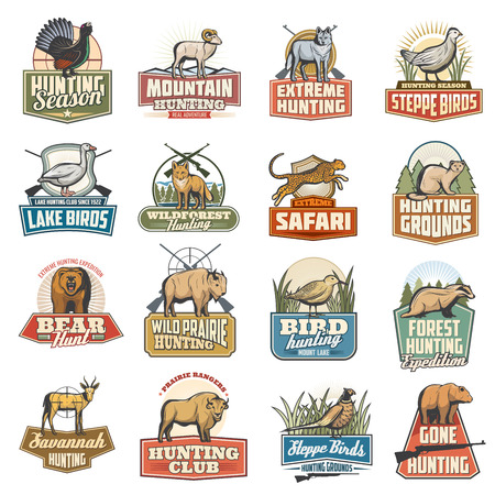 Hunting sport vector icons, wild animals, extreme and safari hunt. Blackcock and goat, wolf and grouse, goose and fox. Cheetah and marten, bear and buffalo, snipe and badger, gazelle and ox, pheasant