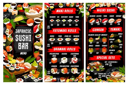 Sushi and rolls menu, Japanese cuisine. Vector maki and nigiri, futomaki and uramaki, gunkan and temaki, ikura and philadelphia, unagi. Salmon and eel, avocado and squid, soy sauce and chopsticks