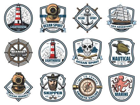 Ikony morskie, heraldyka żeglarska. Wektor latarnia morska i latarnia morska, hełm do nurkowania i kotwica, statek i kierownica, czaszka i luneta. Żółw morski i ośmiornica, szyper i kapitan, kompas nawigacyjny Ilustracje wektorowe