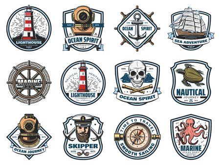 Marine icons, nautical heraldry. Vector lighthouse and beacon, diving helmet and anchor, ship and steering wheel, skull and spyglass. Sea turtle and octopus, skipper and captain, navigation compass Stock Illustratie