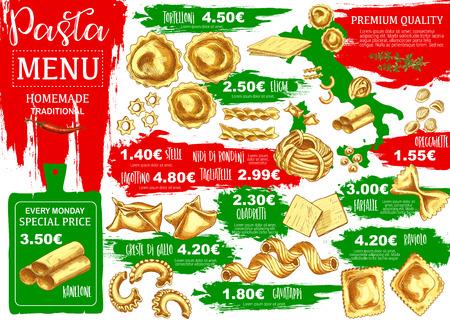 Pasta menu, homemade Italian food. Vector kanelone and tortelloni, eliche and stelle, nidi di rondoni and tagliatelle. Fagottino and quadretti, cavatapi and farfalle, ravioli and lazagna