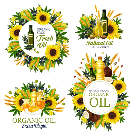 Natural oil, cooking dressing, olive and hemp, sunflower and corn, coconut and wheat spike, rapeseed. Healthy organic food, butter or margarine on plate. Bottles or jugs, liquid seasonings Ilustracja
