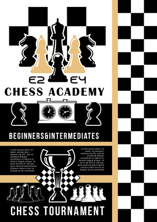 Chess academy, game teaching, game pieces. Vector chessboard and trophy cup, king and queen, bishop and pawn, rook or castle and knight. Competition and tournament, intellectual contest Ilustração