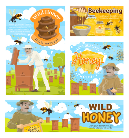 Beekeeping farm or apiary, beekeeper in protective clothes, bee flocks and beehive. Vector man and honeycomb, bowls and jars of wild honey. Natural honey, agriculture industry
