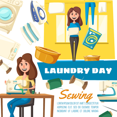 Laundry day, sewing and washing machines, housewife or maid. Vector iron and dryer, pile of clean clothes, basin and detergent, thread coil and needle, towel and linen. Housework and household chores Illusztráció